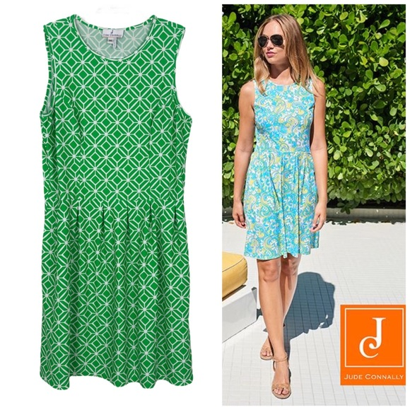 JUDE CONNALLY Rachel Fit and Flare Dress Green M